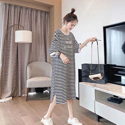 75105/睡裙夏季新款宽松中长款条纹五分袖长裙韩版学院风显瘦可外穿睡衣