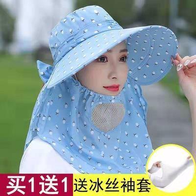 遮阳帽子女夏季防晒太阳帽子大沿户外凉帽防紫外线采茶骑车折叠