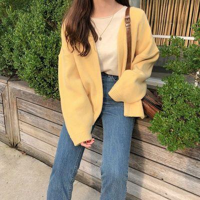 74957/2021早秋新款韩版很仙的慵懒风宽松毛衣外套女学生黄色针织开衫潮