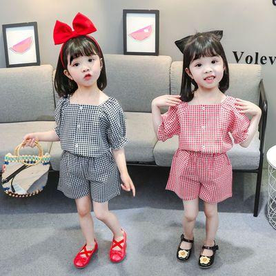 【上衣+短裤】2021新款女宝宝套装女童套装夏装格子潮款