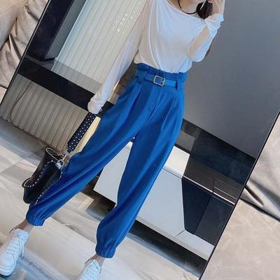 单/套装2021年新款高腰休闲束脚裤西装裤女网红裤子显瘦工装裤女