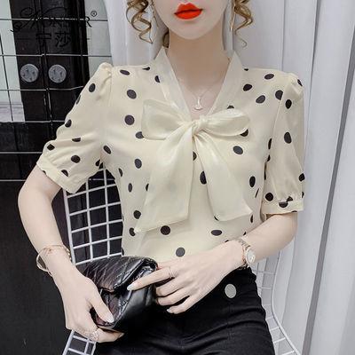 18254/2021年夏季新款蝴蝶结绑带波点雪纺短袖V领洋气百搭衬衫上衣女潮
