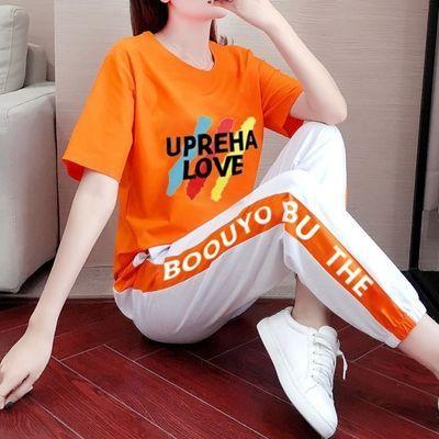 76520/短袖运动套装女夏季2021新款韩版宽松显瘦气质跑步休闲两件套潮牌