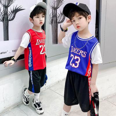 新款儿童篮球套装男女夏季大童运动短袖中小学生速干时尚洋气服装