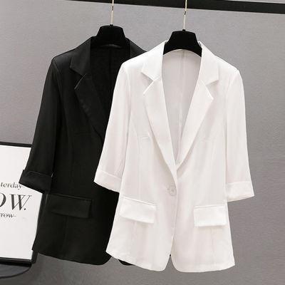 25793/短款春夏季新款小西装外套女修身显瘦大码薄款防晒七分袖西服上衣