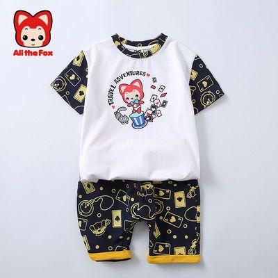阿狸童装2021新款潮装男女宝宝短袖套装透气中大童休闲远动两件套