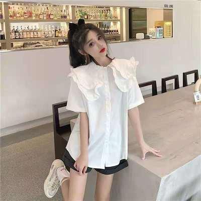 39652/衬衫女夏设计感小众2021年夏季新款复古娃娃领宽松短袖衬衣上衣