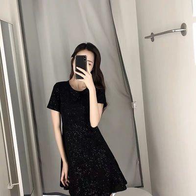 连衣裙春秋小个子女装星空闪闪短款裙子2021夏季新款韩版小黑裙子