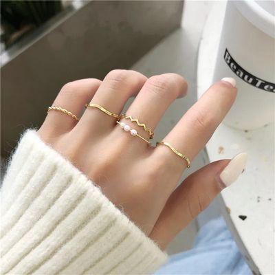 冷淡风素圈戒指套装ins潮网红小众设计食指戒女时尚个性简约指环