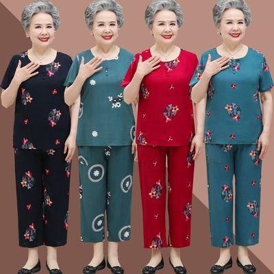 32372/中老年人夏装女奶奶装短袖套装60岁70妈妈棉绸太太老人夏季衣服薄