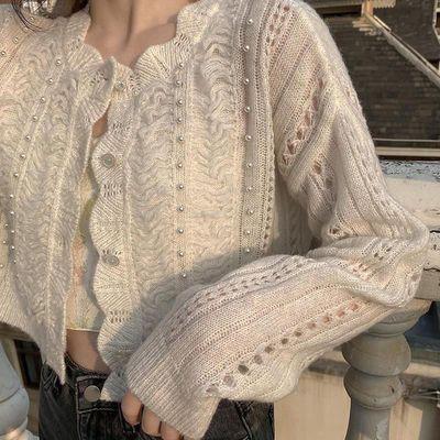 22346/初恋小奶糖-ins珍珠花瓣领镂空针织钉珠开衫气质百搭外搭纯色上衣