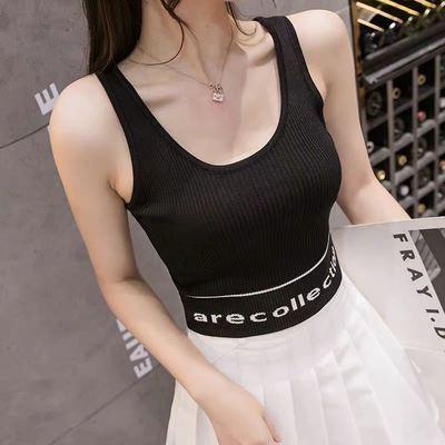 10524/字母无袖针织背心女内搭春夏2021新款韩版修身百搭短款外穿吊带潮