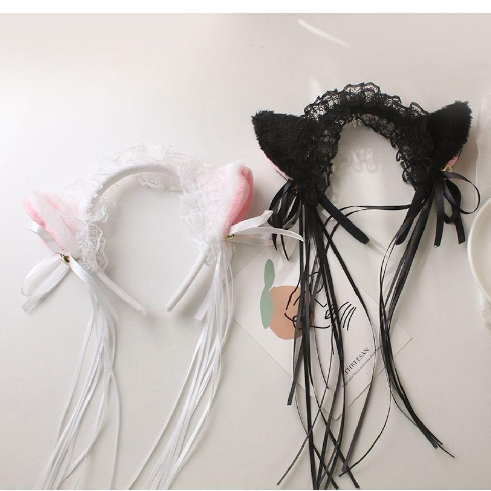 趴趴猫发箍可爱蕾丝猫耳朵cos头饰