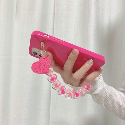 22773/糖果玫红色爱心链条p20mate30/40pro华为p30手机壳nova7软3/4/5ip