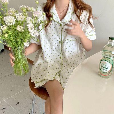 30670/韩版ins甜美爱心100纯棉麻纱布睡衣女夏季短袖短裤家居服套装学生