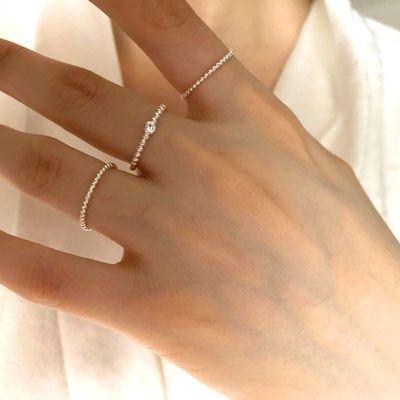 20405/戒指女ins不掉色超细版纯银小众设计单钻小圆珠开口简约素圈指环