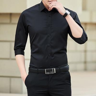10433/衬衫男短袖修身韩版男士休闲七分袖衬衣潮流帅气半袖夏季中袖寸衫