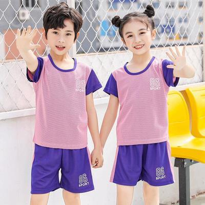 39862/儿童运动短袖短裤套装薄春夏新款童装圆领男女童家居服套装篮球服