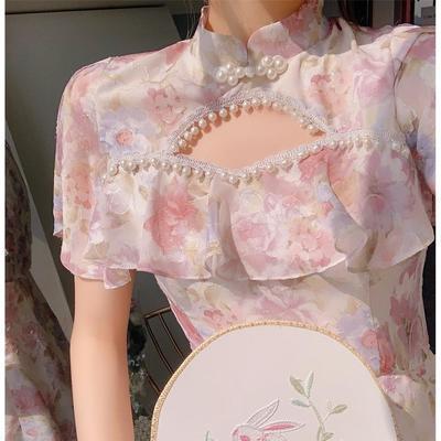 24615/法式旗袍改良版少女连衣裙2021新款夏装年轻款古风碎花民国风裙子
