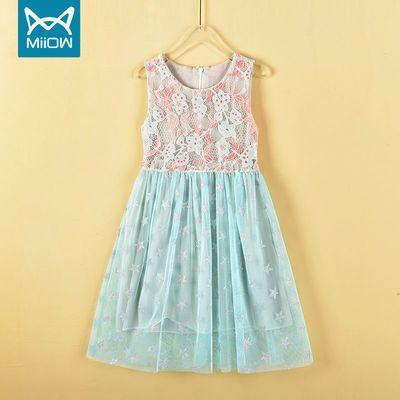 MIIOW/猫人童装中小女童夏装镂空蕾丝连衣裙2021新款公主裙
