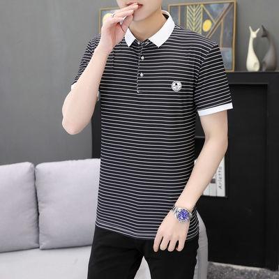 12498/青少年人夏季男士翻领POLO衫修身简约条纹短袖中青年男装t恤衣服