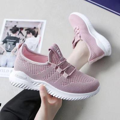 21新款春秋飞织运动鞋女轻便百搭休闲老北京布鞋透气软底跑步鞋女