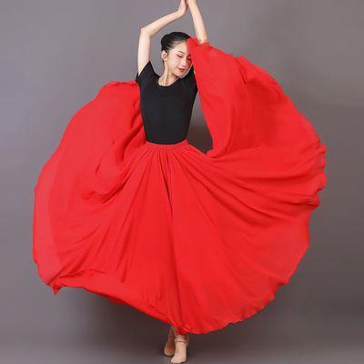 25129/【舞蹈半身裙长裙】720度双层雪纺裙新疆舞大摆裙广场舞蹈裙2021
