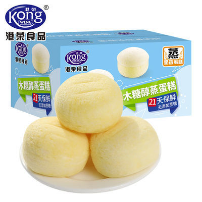 港荣木糖醇蒸蛋糕整箱糖尿零食品添加老年人孕妇面包学生早餐零食