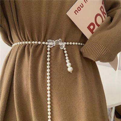 15790/欧美蝴蝶结珍珠腰带女百搭束腰时尚女士腰链搭配裙子复古潮流ins