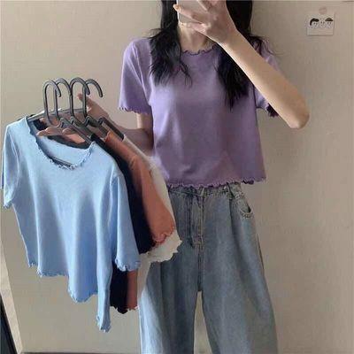 2021年夏季新款韩版木耳边短袖针织衫T恤女宽松显瘦短款上衣ins潮
