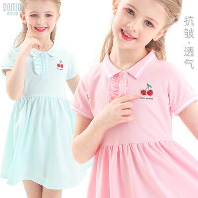女童连衣裙儿童夏季薄款冰丝中大童polo裙洋气公主学院风短袖裙子