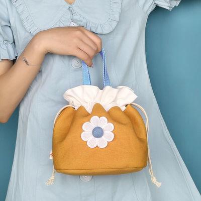 77625/三色补丁雏菊便当包 大号饭盒袋抽绳束口袋
