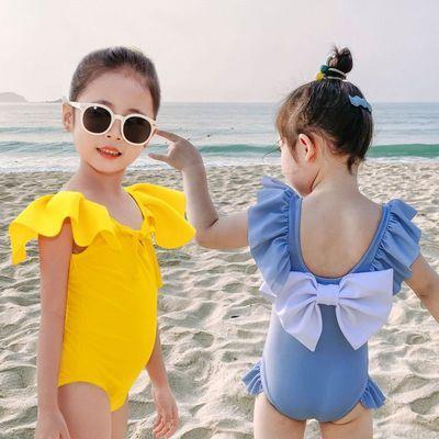 女童宝宝泳衣婴儿连体比基尼公主可爱速干防晒儿童露背蝴蝶结泳装