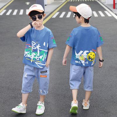 39585/纯棉男童夏装套装2021新款帅洋气潮儿童装韩版夏季网红男孩两件套