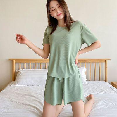 冰丝睡衣女夏季薄款短袖两件套装显瘦家居服可外穿软软套装
