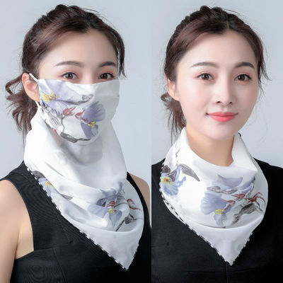 夏季 防晒雪纺口罩女护脖 挂耳面纱口罩围脖 防晒 薄款防紫外线潮