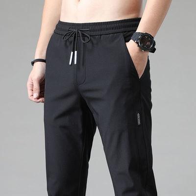 冰丝休闲裤男生韩版潮流宽松直筒弹力薄款速干运动长裤子男裤夏季