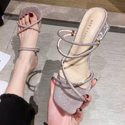 两穿一字带凉鞋女夏季仙女风透明中粗跟百搭水钻网红凉拖鞋女外穿
