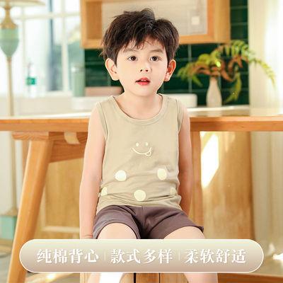 夏季背心两件装中大童新款韩版男童无袖纯棉背心套装女童休闲短裤