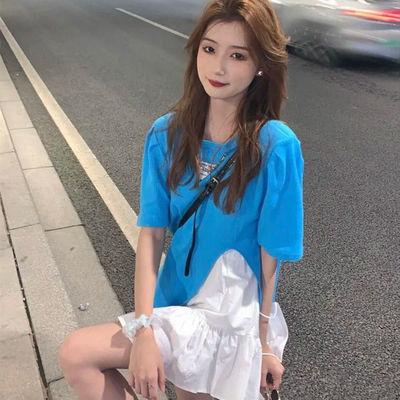 38930/套装女2021夏纯欲设计感小众开叉短袖T恤+白色短裙小个子两件套潮
