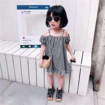 儿童2021棉麻裙子童装新款韩版女童女宝宝格子吊带露肩娃娃连衣裙
