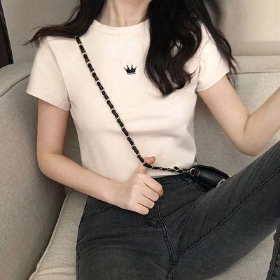 2021印花皇冠短袖T恤修身显瘦学生时尚潮流打底衫女装韩版显身材【6月30日发完】