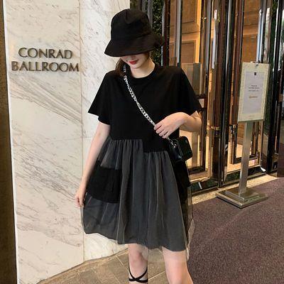 40733/2021新款夏季高腰设计超仙连衣裙森系仙女风网纱拼接宽松显瘦裙子