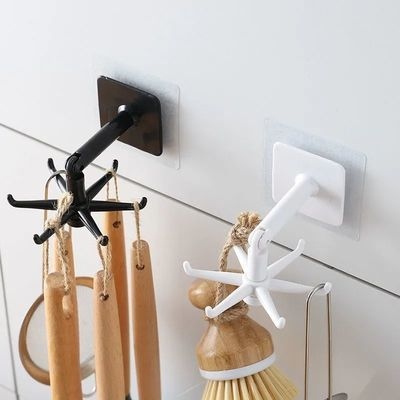 家用厨房挂钩架免打孔旋转粘钩承重无痕门后钥匙挂钩强力黏贴壁挂