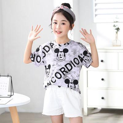 100%纯棉女童短袖t恤2021新款洋气儿童夏装中大童装半袖印花上衣