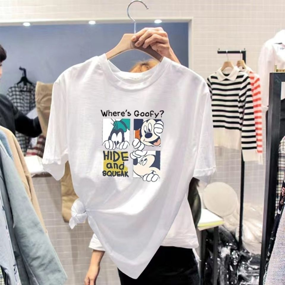 夏季韩版宽松大码卡通米奇白色短袖t恤
