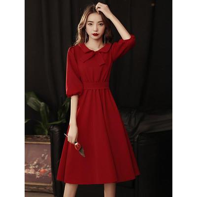 29109/敬酒服新娘2021新款夏季酒红色平时可穿日常回门礼服订婚连衣裙女