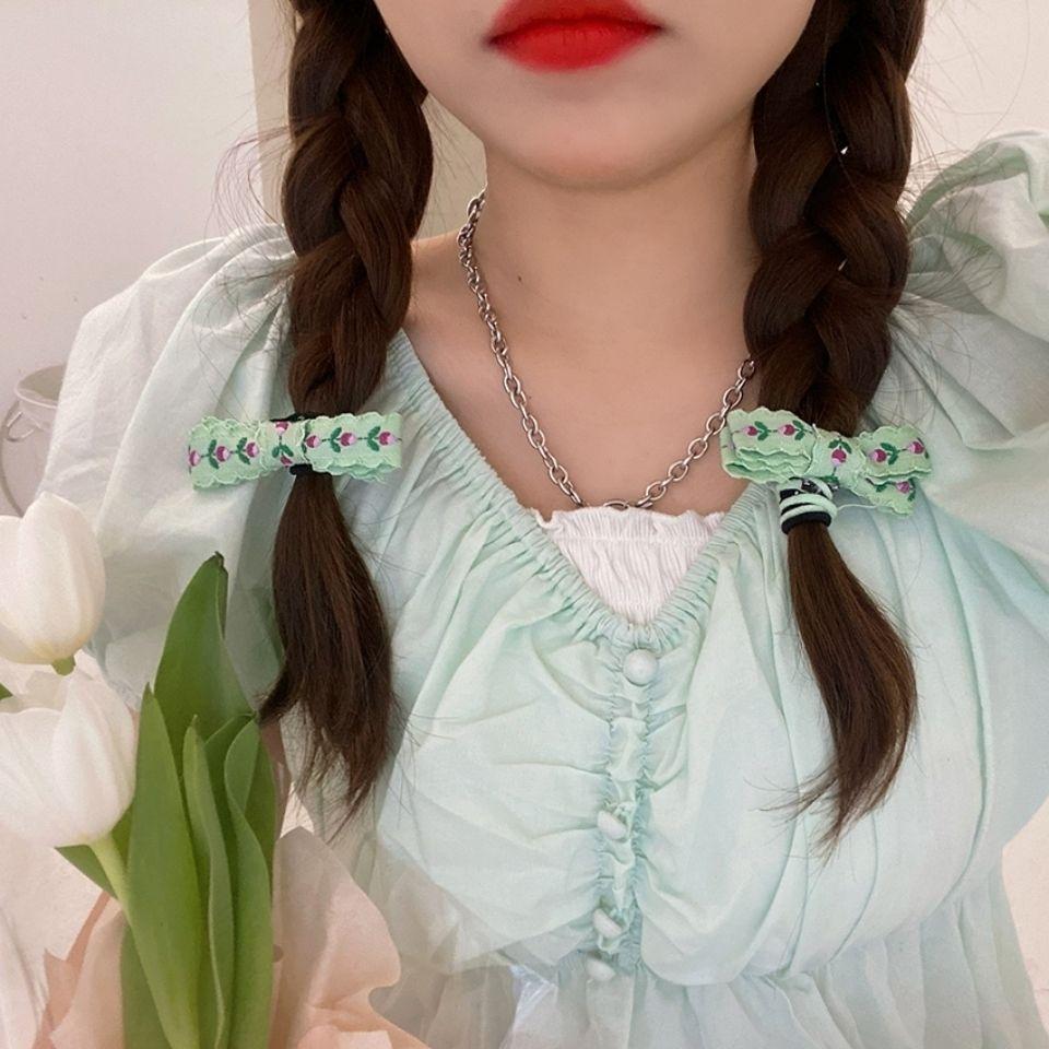 2个装甜美刺绣花朵蝴蝶结发绳ins少女发圈双马尾皮筋日韩发饰品潮