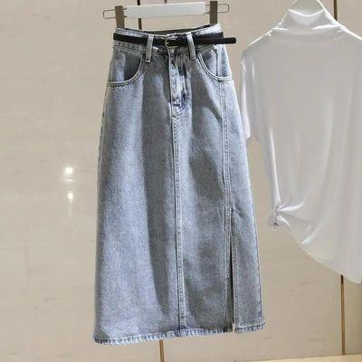 17966/原创中长款复古开叉牛仔裙女小个子高腰包臀半身裙子2021春夏新款
