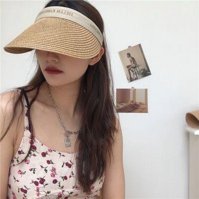 62785/夏季遮阳草帽无顶发夹式字母空顶太阳帽防紫外线百搭款女帽潮